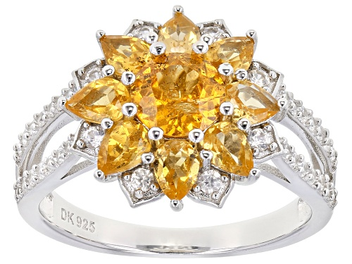 Photo of 2.28ctw Round & Pear Shape Mandarin garnet  With .31ctw White Zircon Rhodium Over Silver Ring - Size 8