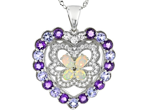 Photo of 5.80ctw Ethiopian Opal, Amethyst, Tanzanite & White Zircon Rhodium Over Silver Heart Pendant W/Chain