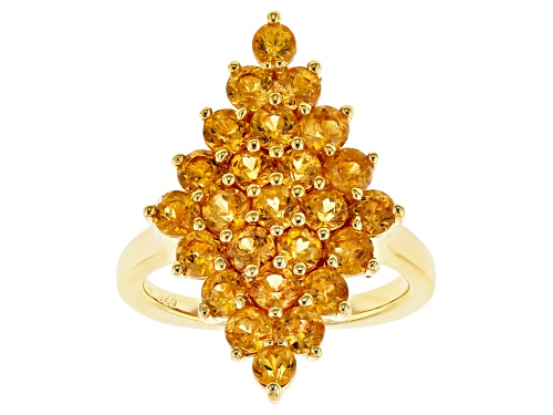 Photo of 3.19CTW ROUND MANDARIN GARNET 18K YELLOW GLD OVER STERLING SILVER RING - Size 7