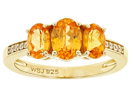 Photo of 1.76CTW OVAL MANDARIN GARNET WITH .05CTW WHITE ZIRCON 18K YELLOW GOLD OVER STERLING SILVER RING - Size 8