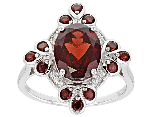 Photo of 3.49ctw Oval & Round Vermelho Garnet(TM) With .05ctw Zircon Rhodium Over Silver Ring - Size 8