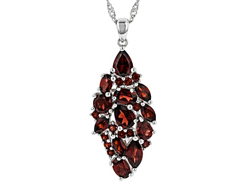 Photo of 6.05ctw Mixed Shape Vermelho Garnet(TM) Rhodium Over Silver Pendant W/ Chain