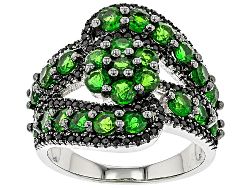 Photo of 2.78ctw Russian Chrome Diopside with .45ctw Black Spinel Rhodium Over Sterling Silver Bypass Ring - Size 8