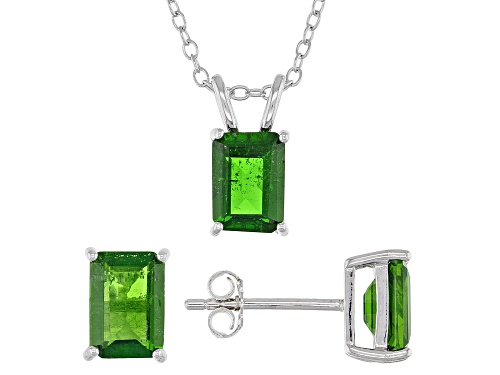 Photo of 2.51ctw Rectangular Octagonal Chrome Diopside Sterling Silver Earrings, Pendant with Chain Set