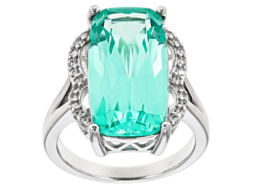 Photo of 9.64ct Rectangular Cushion Lab Created Green Spinel & .25ctw Zircon Rhodium Over Silver Ring - Size 7