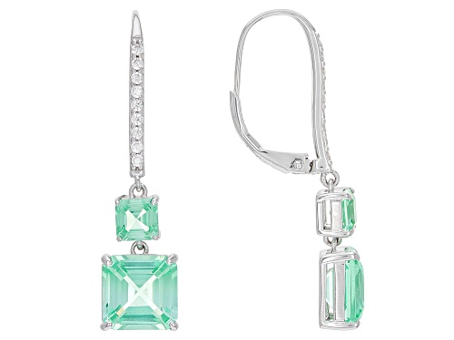 Photo of 7.37ctw Square Asscher Cut Lab Created Green Spinel With .34ctw Zircon Rhodium Over Silver Earrings