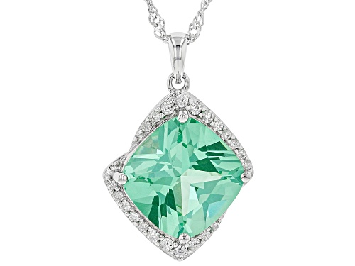 Photo of 7.06ct Square Cushion Lab Created Green Spinel & .31ctw Zircon Rhodium Over Silver Pendant W/ Chain