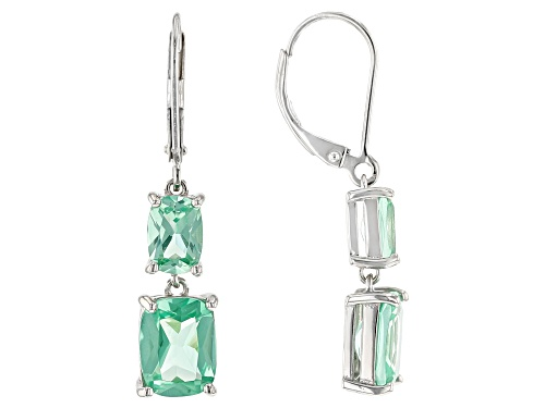 Photo of 5.90ctw Rectangular Cushion Lab Created Green Spinel Rhodium Over Silver 2-Stone Dangle Earrings