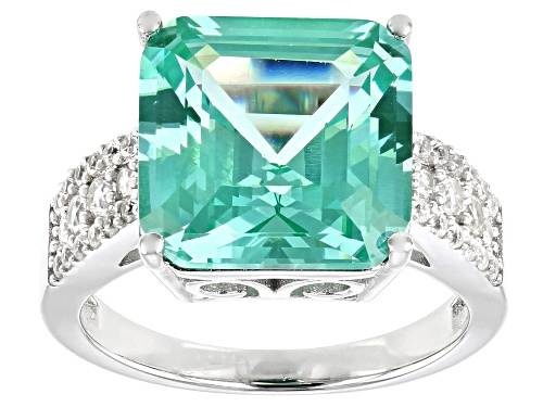 Photo of 7.65ct Square Asscher Cut Lab Created Green Spinel With .55ctw Zircon Rhodium Over Silver Ring - Size 7