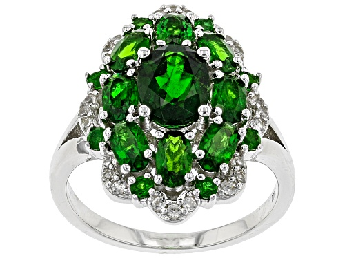 3.05ctw Oval & .27ctw Round Chrome Diopside With .22ctw Zircon Rhodium Over Sterling Silver Ring - Size 8