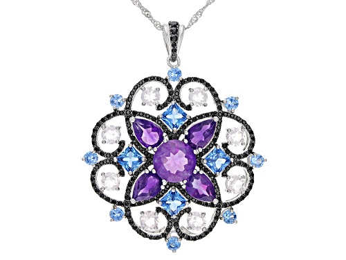 9.50ctw Multi-Gemstone Rhodium Over Silver Medallion Pendant With Chain