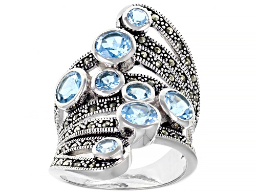 Photo of 2.80ctw Round Swiss Blue Topaz And Round Marcasite Rhodium Over Sterling Silver Fan Ring - Size 7