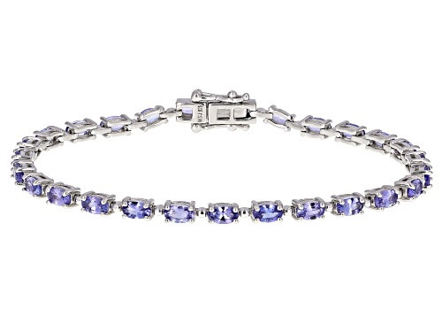 Photo of 5.05ctw Oval Tanzanite Rhodium Over Silver Tennis Bracelet - Size 7.25