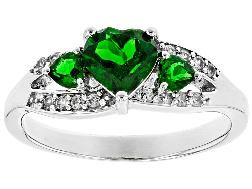 Photo of .93ctw Russian Chrome Diopside with .09ctw Round White Zircon Rhodium Over Sterling Silver Ring - Size 8