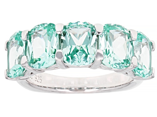 Photo of 6.38ctw Rectangular Cushion Lab Created Green Spinel Rhodium Over Silver 5-Stone Ring - Size 8