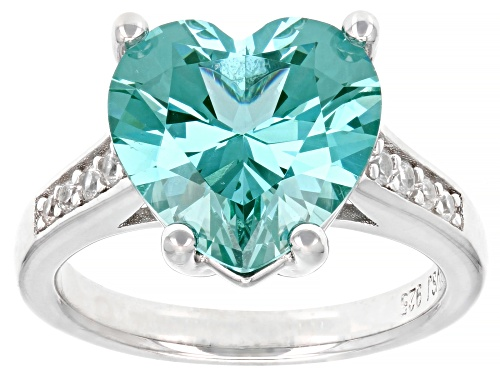 Photo of 5.34ct Heart Shape Lab Created Green Spinel With .27ctw Round White Zircon Rhodium Over Silver Ring - Size 6
