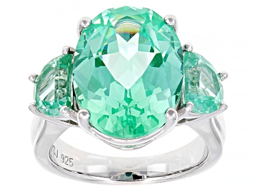 Photo of 9.13ct Oval & 1.91ctw Half-Moon Lab Created Green Spinel Rhodium Over Silver 3-Stone Ring - Size 7