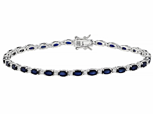 Photo of 6.75ctw oval Blue Sapphire With 1.23ctw round White Zircon Sterling Silver Bracelet - Size 8