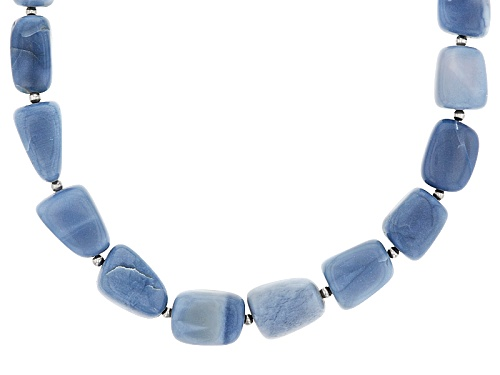 Photo of Fancy Mixed Shape Blue Opal Nugget Rhodium Over Sterling Silver Necklace - Size 20