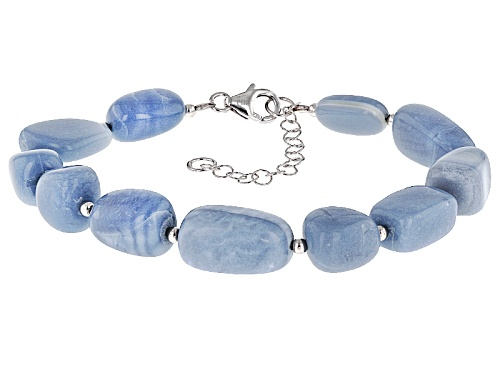 Photo of Fancy Mixed Shape Blue Opal Nugget Rhodium Over Sterling Silver Bracelet - Size 8
