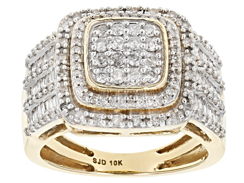 Photo of 1.00ctw Round And Baguette White Diamond 10k Yellow Gold Ring - Size 6