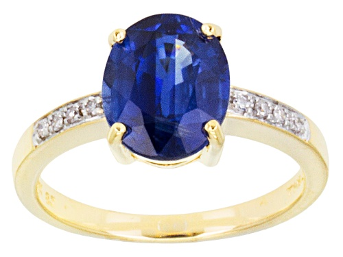 Photo of 2.66ct Oval Kyanite With .04ctw Round White Diamond Accents 10k Yellow Gold Ring - Size 7