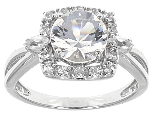 Photo of 1.60ct Round Danburite With .52ctw Marquise And Round White Zircon 10k White Gold Ring - Size 7