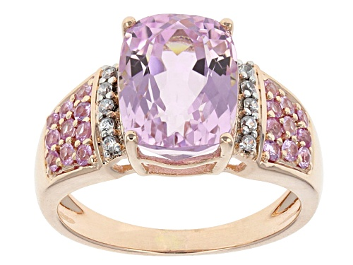 3.78ct Cushion Kunzite With .30ctw Pink Sapphire And .10ctw White Zircon 10k Rose Gold Ring - Size 7