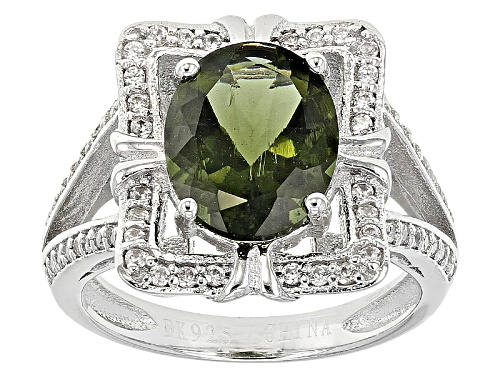 Photo of 1.49ct Oval Moldavite With .42ctw Round White Zircon Sterling Silver Ring - Size 5