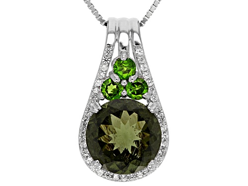 Photo of 2.35ct Round Moldavite, .36ctw Chrome Diopside, .25ctw White Zircon Silver Pendant With Chain