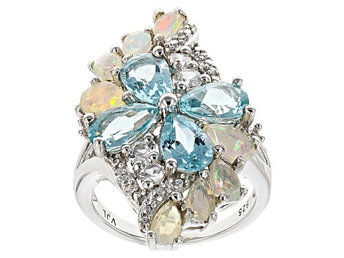 Photo of 2.72ctw Pear Shape Paraiba Color Apatite, 1.09ctw Ethiopian Opal, .92ctw White Zircon Silver Ring - Size 7