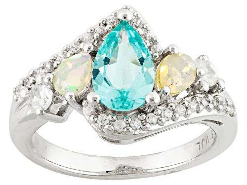Photo of .91ct Pear Shape Paraiba Color Apatite, .17ctw Ethiopian Opal, .39ctw White Zircon Silver Ring - Size 8