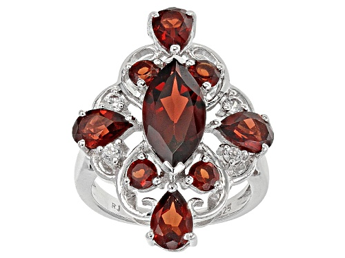 Photo of 3.83ctw Vermelho Garnet™ With .19 Ctw Round White Zircon Sterling Silver Ring - Size 5