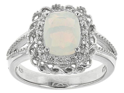 Photo of .95ct Rectangular Cushion Ethiopian Opal And .12ctw Round White Zircon Sterling Silver Ring - Size 12