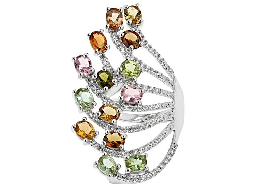 Photo of 3.07ctw Oval Yellow, Green, Pink, Brown And Blue Tourmaline With .89ctw White Zircon Silver Ring - Size 6