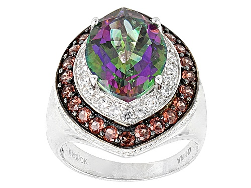 Photo of 5.50ct Marquise Green Mystic Topaz®, .84ctw Vermelho Garnet™, .46ctw With Zircon Silver Ring - Size 12