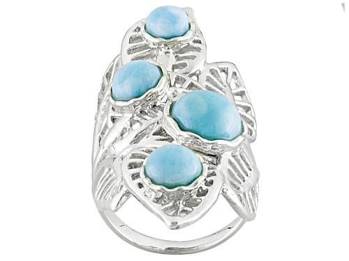 Photo of Round Cabochon Larimar Sterling Silver 4-Stone Leaf Ring - Size 6