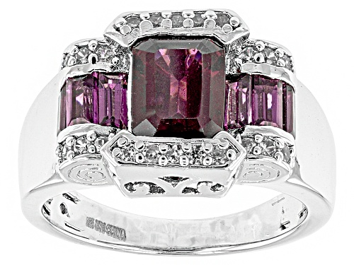 Photo of 3.01ctw Emerald Cut And Baguette Raspberry color Rhodolite With .20ctw Zircon Silver Ring - Size 12