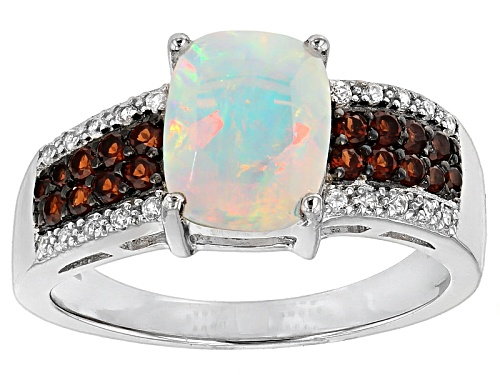 Photo of .97ct Ethiopian Opal, .21ctw Vermelho Garnet™, .11ctw White Zircon Silver Ring - Size 6