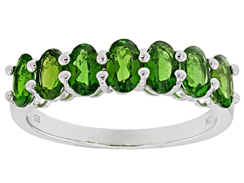 Photo of 1.48ctw Oval Russian Chrome Diopside Rhodium Over Sterling Silver 7-Stone Ring - Size 9