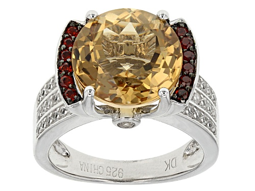 Photo of 5.30ct Champagne Quartz With .31ctw Vermelho Garnet™ And .43ctw White Zircon Sterling Silver Ring - Size 12