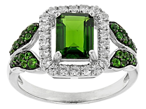Photo of 1.49ctw Emerald Cut And Round Russian Chrome Diopside With .39ctw Round White Zircon Silver Ring - Size 11