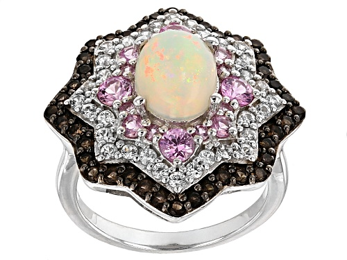 Photo of .93ct Ethiopian Opal With 1.95ctw Pink Sapphire,Smoky Quartz And White Zircon Sterling Silver Ring - Size 11