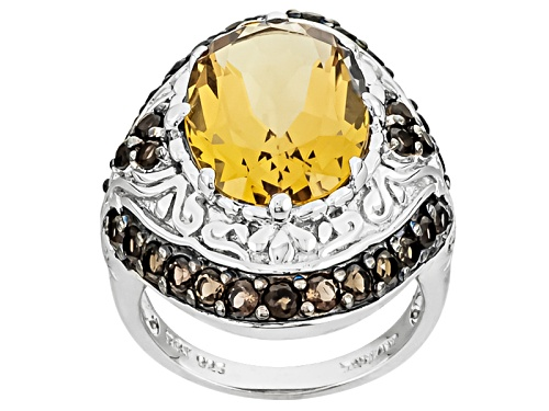Photo of 7.00ct Oval Champagne Quartz And 1.26ctw Round Smoky Quartz Sterling Silver Ring - Size 5