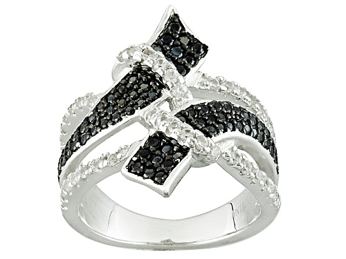 Photo of .40ctw Round Black Spinel And .29ctw Round White Zircon Sterling Silver Bypass Ring - Size 5