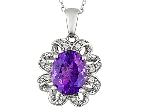 Photo of 1.91ct Oval Moroccan Amethyst With .25ctw Round White Zircon Sterling Silver Pendant With Chain