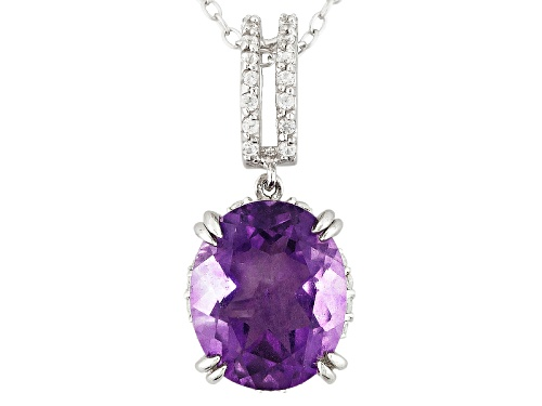 Photo of 3.40ct Oval Purple Fluorite With .26ctw Round White Zircon Sterling Silver Pendant With Chain