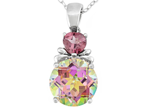 Photo of 3.61ct Round Cosmopolitan Beyond™ Mystic Topaz® With .53ctw Rhodolite Silver Pendant With Chain