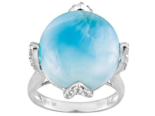 Photo of Round Cabochon Larimar With .30ctw Round White Zircon Sterling Silver Ring - Size 8