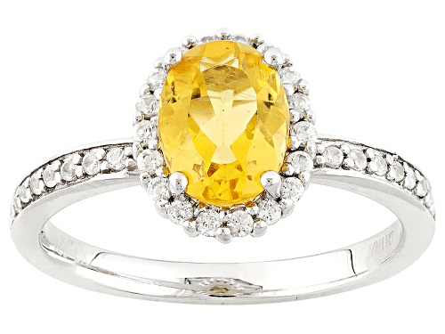 Photo of .80ct Oval Yellow Beryl With .22ctw Round White Zircon Sterling Silver Ring - Size 11